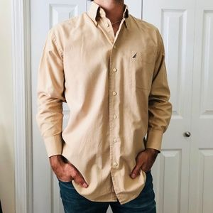 Nautica Tan Brown Vintage Oxford Shirt 15.5 32/33